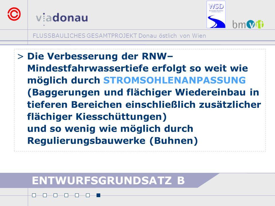 FLUSSBAULICHES GESAMTPROJEKT Donau östlich von Wien ENTWURFSGRUNDSATZ B >Die Verbesserung der RNW– Mindestfahrwassertiefe erfolgt so weit wie möglich