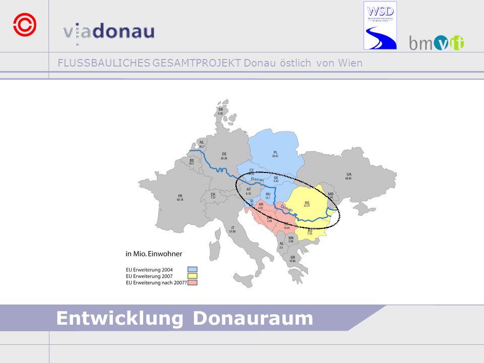 FLUSSBAULICHES GESAMTPROJEKT Donau östlich von Wien RAHMENBEDINGUNGEN >ERHALTUNG DER FREIEN FLIESSSTRECKE (keine Stauregelung) >SICHERSTELLUNG DES HOCHWASSERSCHUTZES