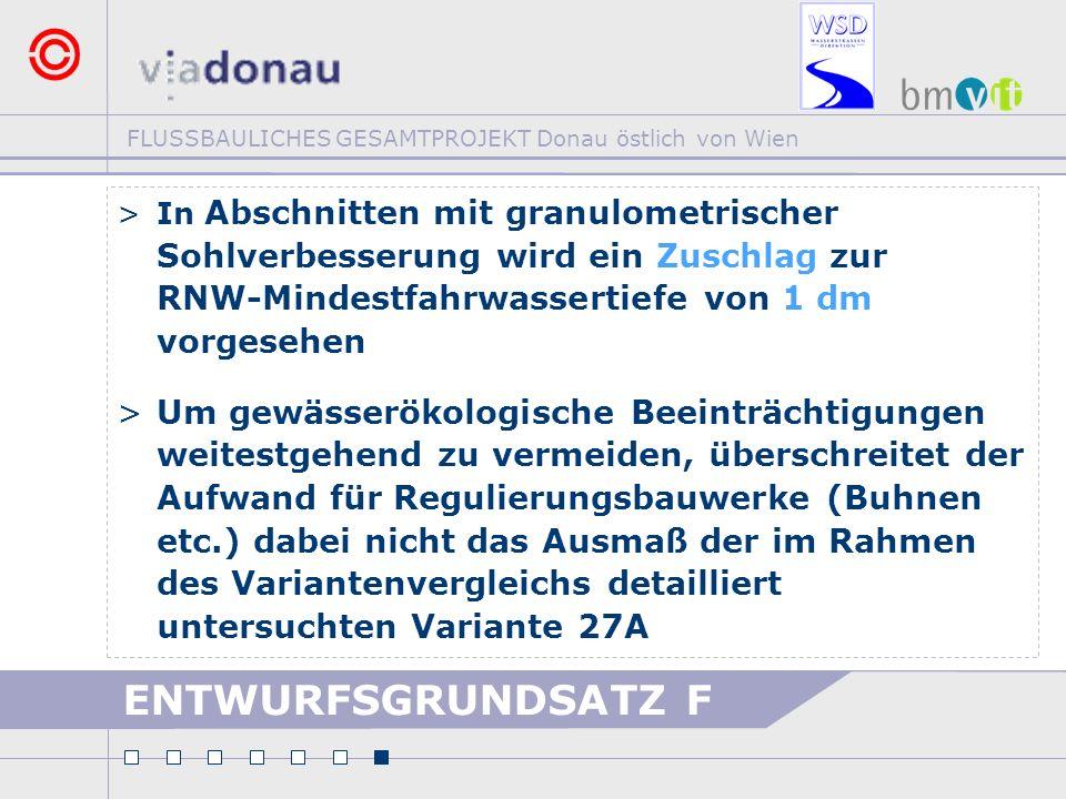 FLUSSBAULICHES GESAMTPROJEKT Donau östlich von Wien ENTWURFSGRUNDSATZ F >In Abschnitten mit granulometrischer Sohlverbesserung wird ein Zuschlag zur R