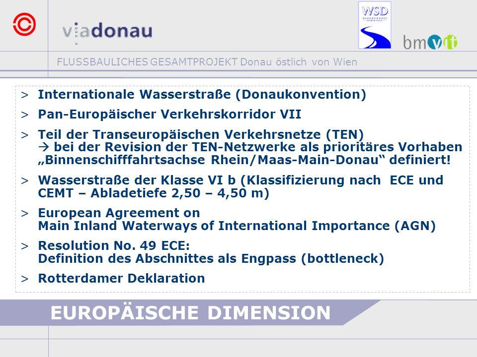 FLUSSBAULICHES GESAMTPROJEKT Donau östlich von Wien >Internationale Wasserstraße (Donaukonvention) >Pan-Europäischer Verkehrskorridor VII >Teil der Tr