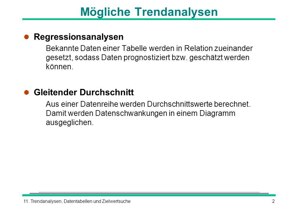 11. Trendanalysen, Datentabellen und Zielwertsuche2 Mögliche Trendanalysen l Regressionsanalysen Bekannte Daten einer Tabelle werden in Relation zuein