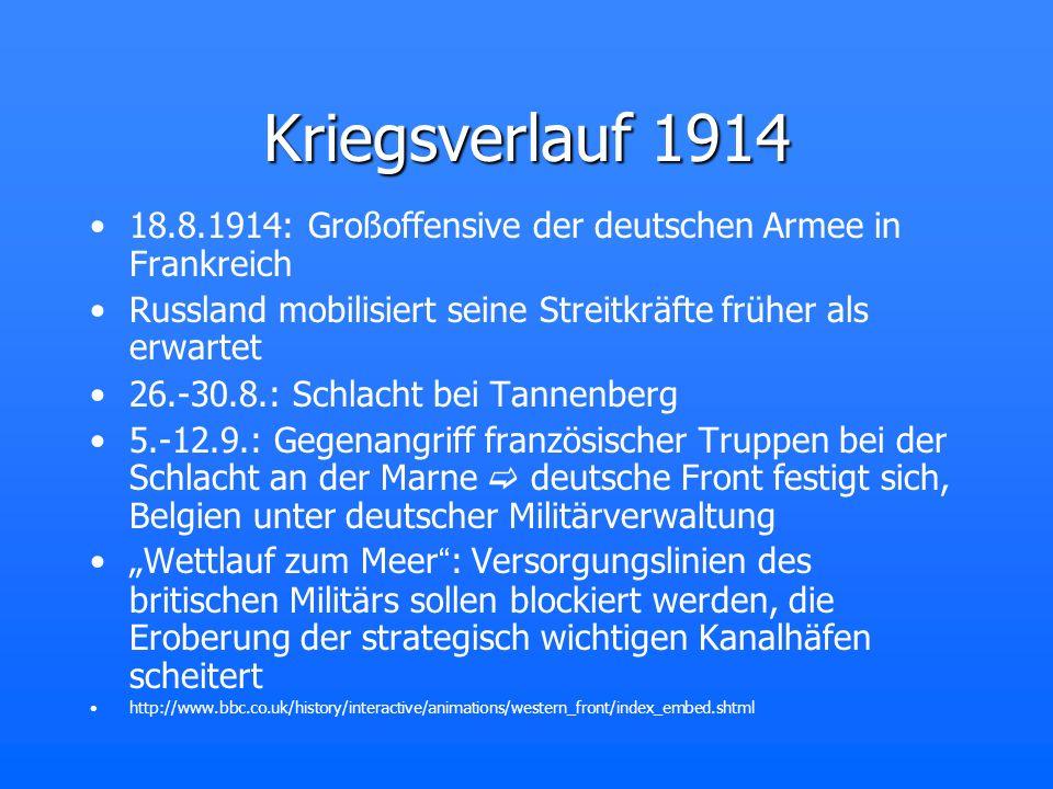 Kriegsverlauf 1914 18.8.1914: Großoffensive der deutschen Armee in Frankreich Russland mobilisiert seine Streitkräfte früher als erwartet 26.-30.8.: S