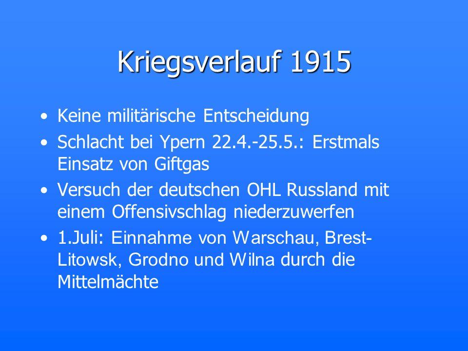 Kriegsverlauf 1915 Keine militärische Entscheidung Schlacht bei Ypern 22.4.-25.5.: Erstmals Einsatz von Giftgas Versuch der deutschen OHL Russland mit