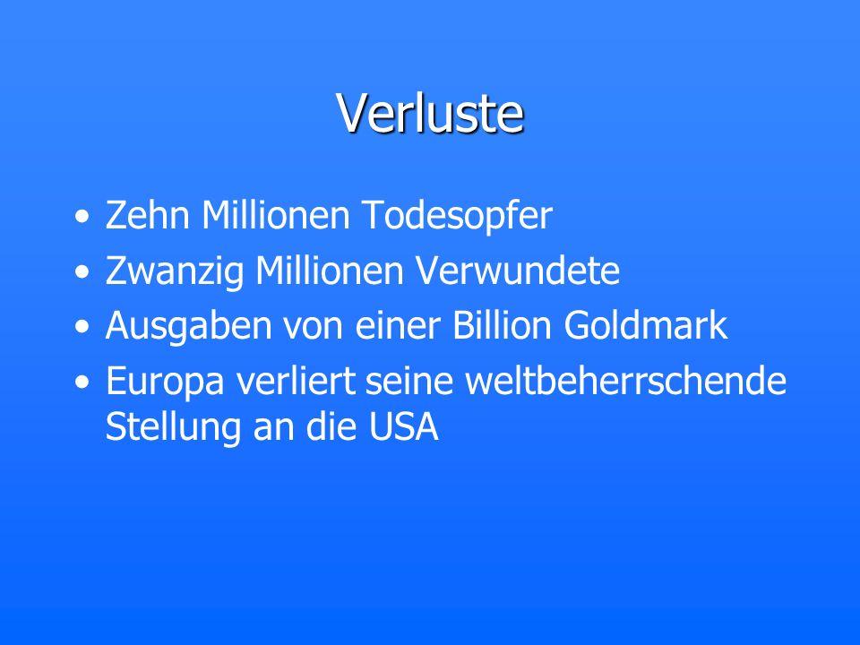 Verluste Zehn Millionen Todesopfer Zwanzig Millionen Verwundete Ausgaben von einer Billion Goldmark Europa verliert seine weltbeherrschende Stellung a
