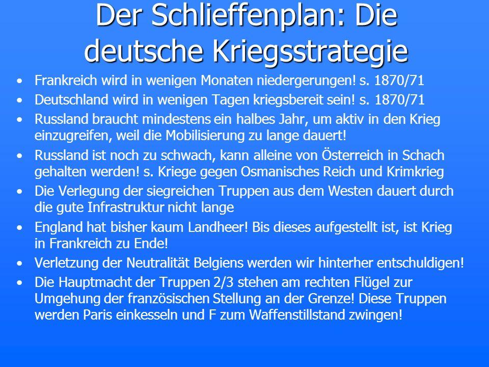 Der Schlieffenplan: Die deutsche Kriegsstrategie Frankreich wird in wenigen Monaten niedergerungen! s. 1870/71 Deutschland wird in wenigen Tagen krieg