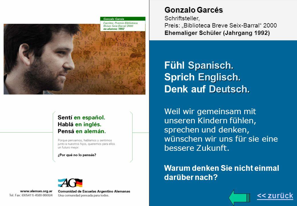 << zurück Gonzalo Garcés Schriftsteller, Preis: Biblioteca Breve Seix-Barral 2000 Ehemaliger Schüler (Jahrgang 1992) Spanisch. Fühl Spanisch. Englisch