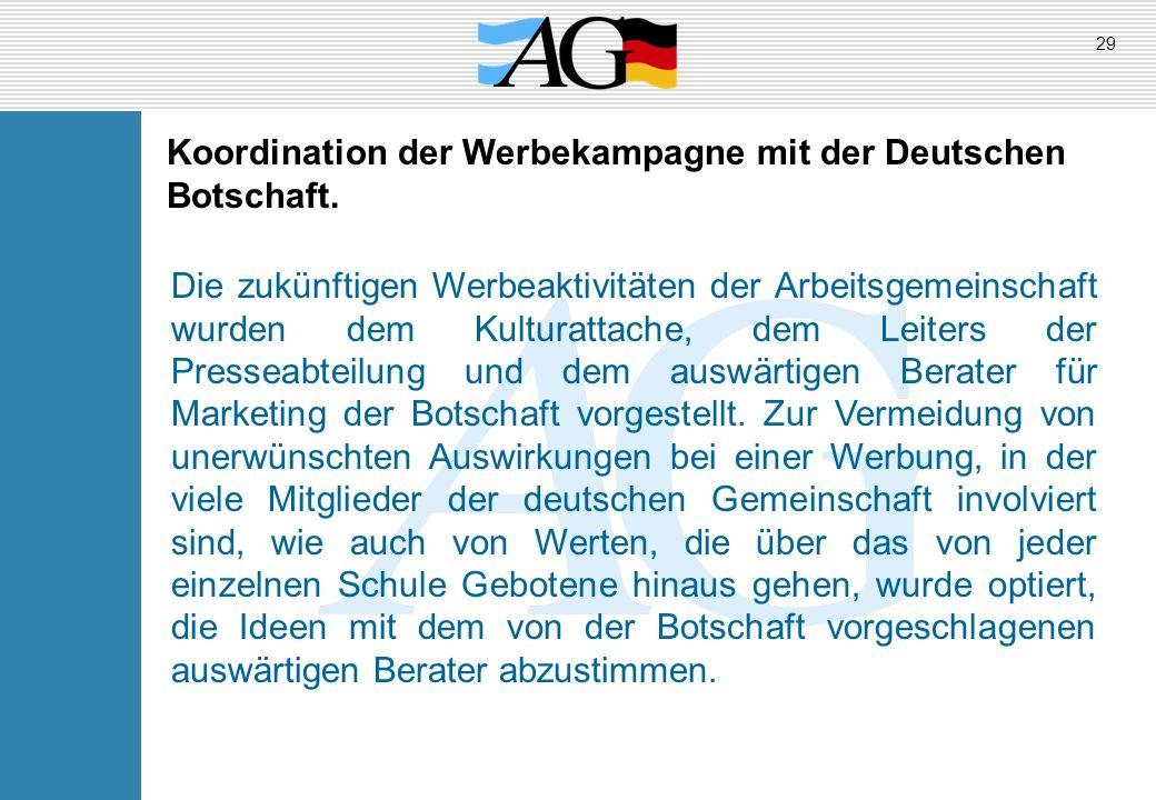 Koordination der Werbekampagne mit der Deutschen Botschaft. Die zukünftigen Werbeaktivitäten der Arbeitsgemeinschaft wurden dem Kulturattache, dem Lei