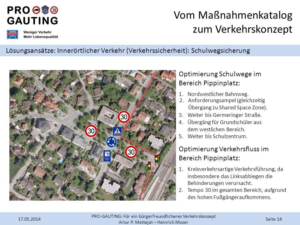 Vom Maßnahmenkatalog zum Verkehrskonzept Lösungsansätze: Innerörtlicher Verkehr (Verkehrssicherheit): Schulwegsicherung Optimierung Schulwege im Berei