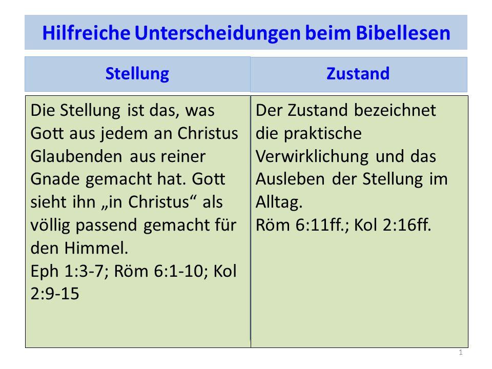 Hilfreiche Unterscheidungen beim Bibellesen Stellung Die Stellung ist das, was Gott aus jedem an Christus Glaubenden aus reiner Gnade gemacht hat. Got