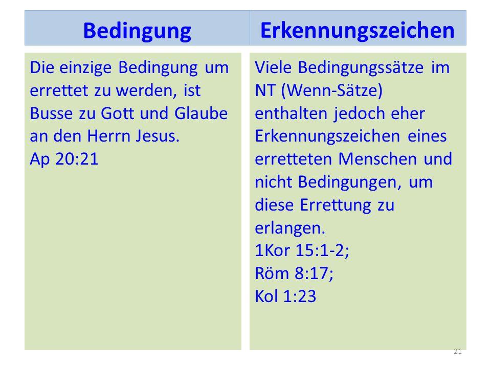 Die einzige Bedingung um errettet zu werden, ist Busse zu Gott und Glaube an den Herrn Jesus. Ap 20:21 Viele Bedingungssätze im NT (Wenn-Sätze) enthal