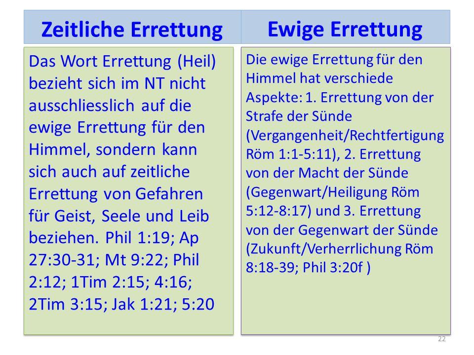 Das Wort Errettung (Heil) bezieht sich im NT nicht ausschliesslich auf die ewige Errettung für den Himmel, sondern kann sich auch auf zeitliche Errett
