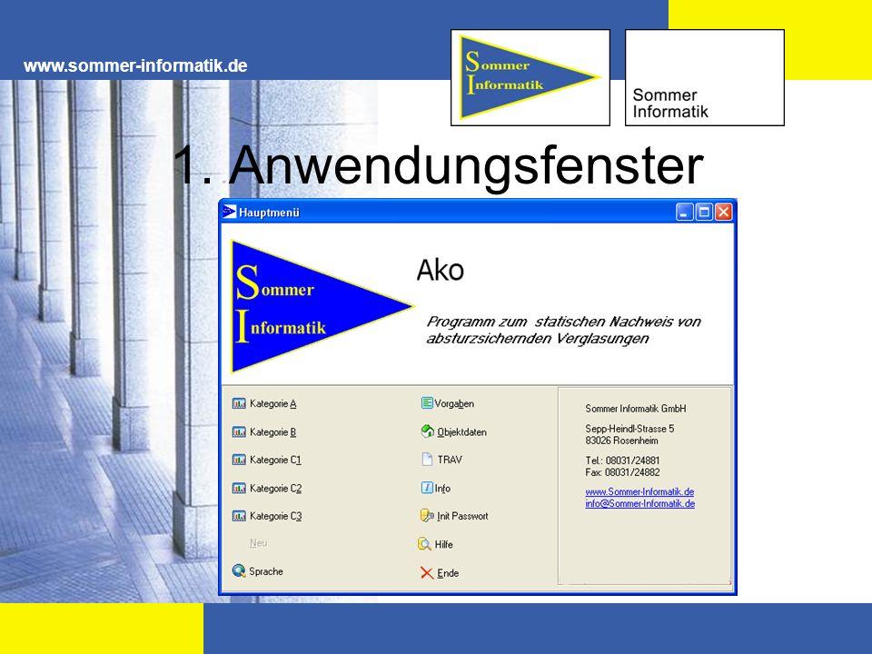 www.sommer-informatik.de 1. Anwendungsfenster