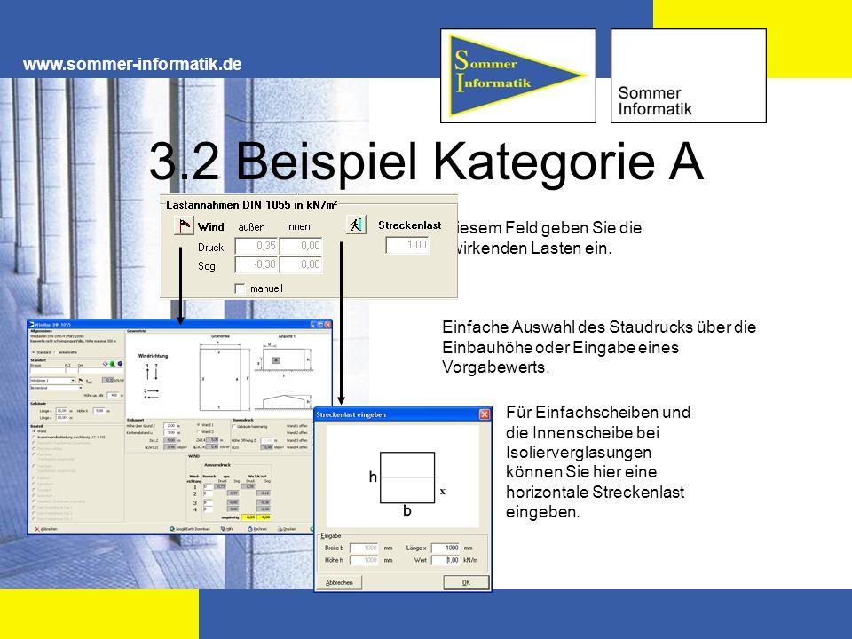 www.sommer-informatik.de 3.2 Beispiel Kategorie A Einfache Auswahl des Staudrucks über die Einbauhöhe oder Eingabe eines Vorgabewerts. In diesem Feld