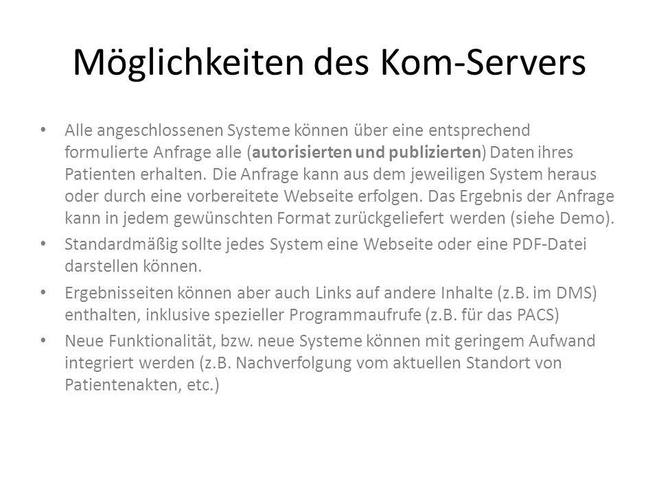 Möglichkeiten des Kom-Servers Alle angeschlossenen Systeme können über eine entsprechend formulierte Anfrage alle (autorisierten und publizierten) Dat