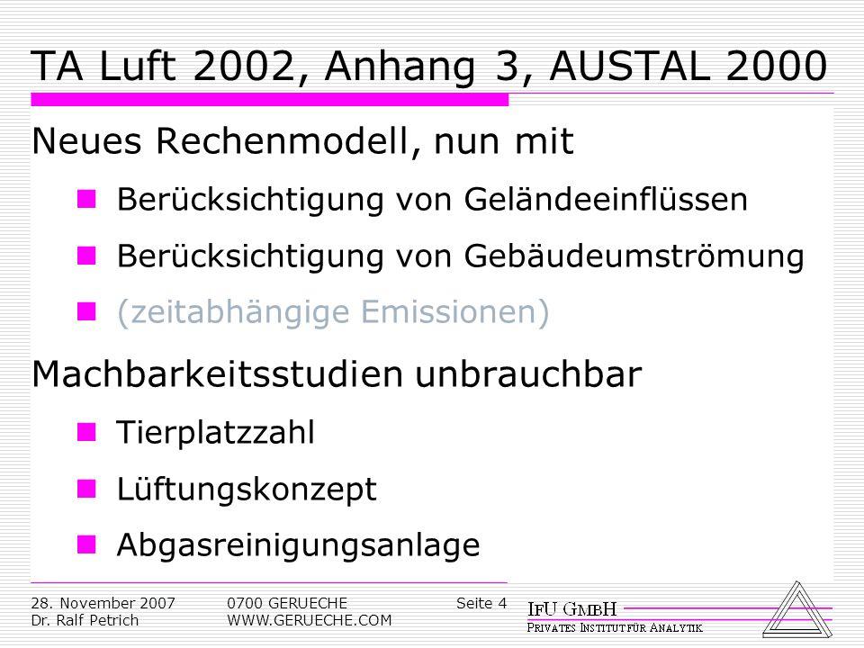 Seite 428. November 2007 Dr. Ralf Petrich 0700 GERUECHE WWW.GERUECHE.COM TA Luft 2002, Anhang 3, AUSTAL 2000 Neues Rechenmodell, nun mit Berücksichtig
