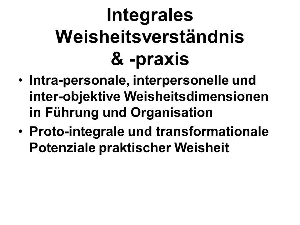 Integrales Weisheitsverständnis & -praxis Intra-personale, interpersonelle und inter-objektive Weisheitsdimensionen in Führung und Organisation Proto-integrale und transformationale Potenziale praktischer Weisheit