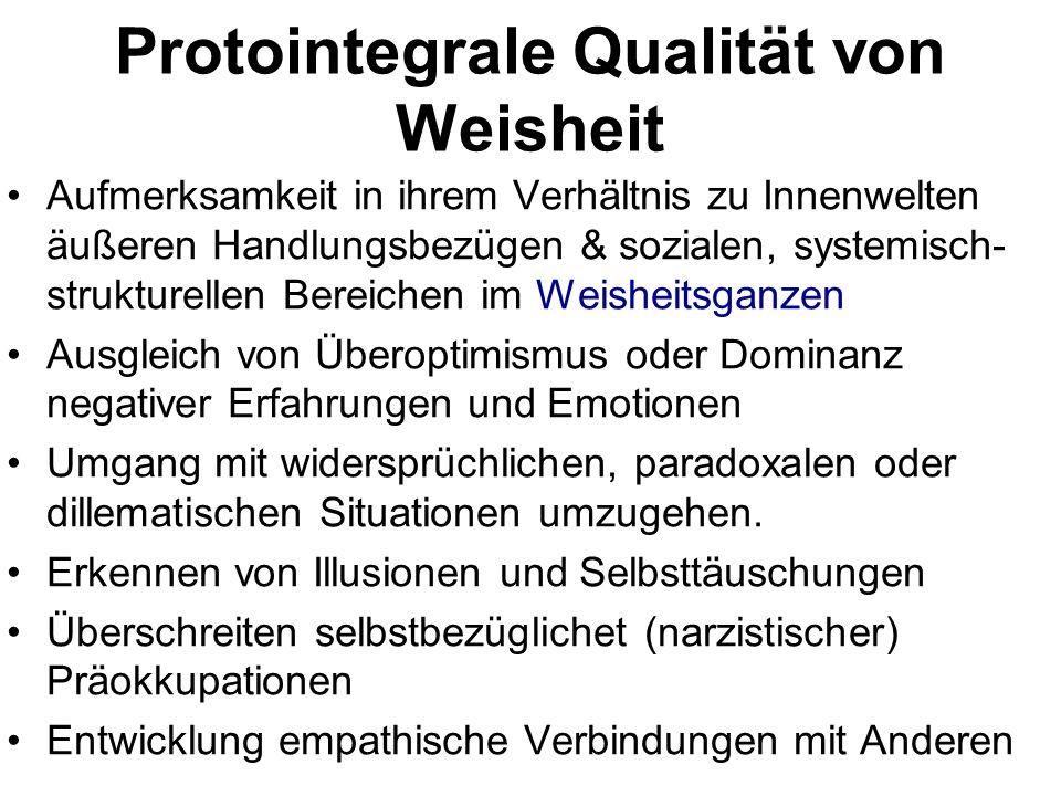 Protointegrale Qualität von Weisheit Aufmerksamkeit in ihrem Verhältnis zu Innenwelten äußeren Handlungsbezügen & sozialen, systemisch- strukturellen
