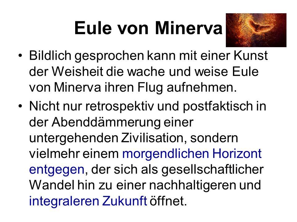 Eule von Minerva Bildlich gesprochen kann mit einer Kunst der Weisheit die wache und weise Eule von Minerva ihren Flug aufnehmen. Nicht nur retrospekt