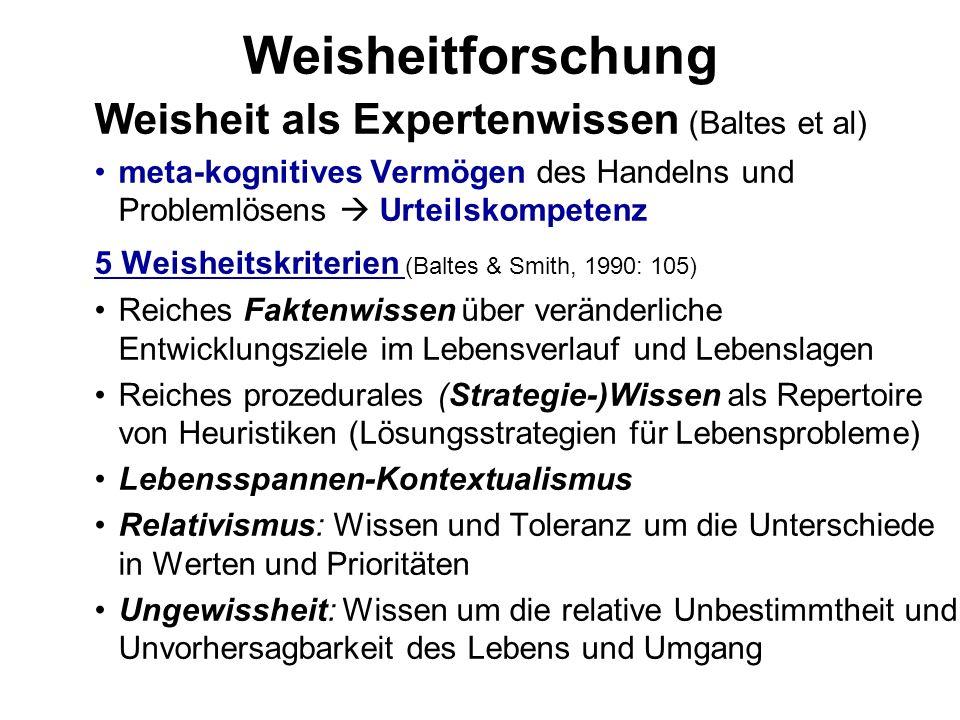 Weisheitforschung Weisheit als Expertenwissen (Baltes et al) meta-kognitives Vermögen des Handelns und Problemlösens Urteilskompetenz 5 Weisheitskrite