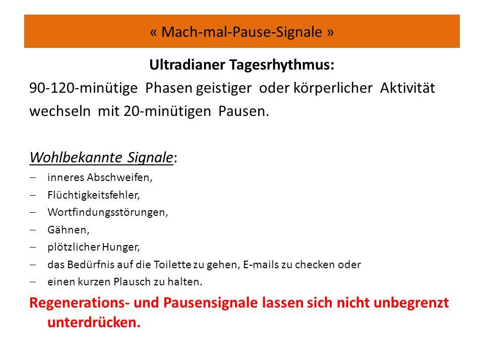 « Mach-mal-Pause-Signale » Ultradianer Tagesrhythmus: 90-120-minütige Phasen geistiger oder körperlicher Aktivität wechseln mit 20-minütigen Pausen.