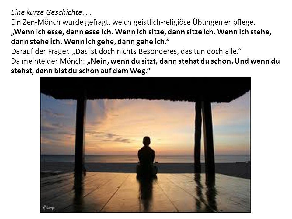 Eine kurze Geschichte…..Ein Zen-Mönch wurde gefragt, welch geistlich-religiöse Übungen er pflege.