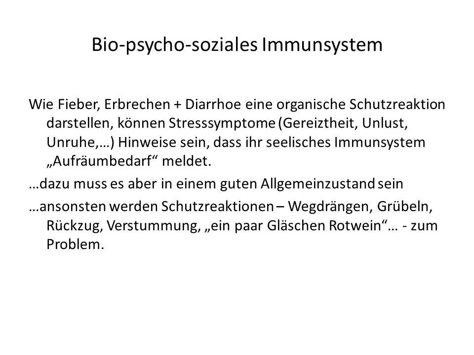 Bio-psycho-soziales Immunsystem Wie Fieber, Erbrechen + Diarrhoe eine organische Schutzreaktion darstellen, können Stresssymptome (Gereiztheit, Unlust, Unruhe,…) Hinweise sein, dass ihr seelisches Immunsystem Aufräumbedarf meldet.