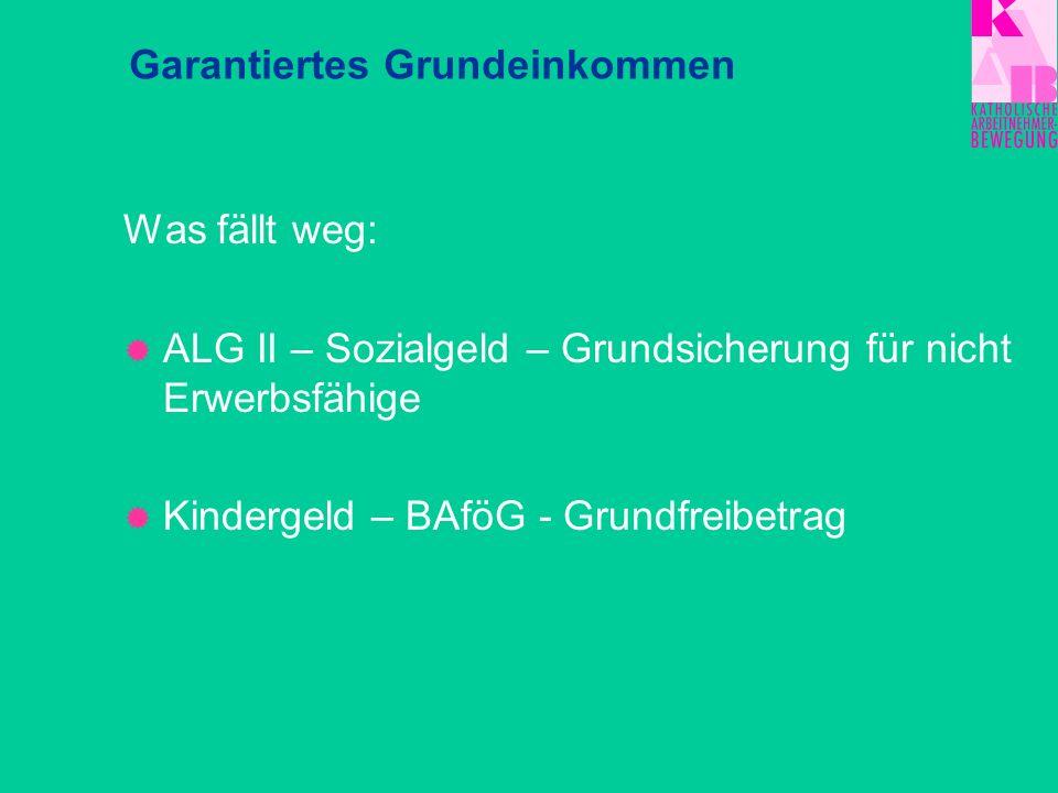 Was fällt weg: ALG II – Sozialgeld – Grundsicherung für nicht Erwerbsfähige Kindergeld – BAföG - Grundfreibetrag Garantiertes Grundeinkommen