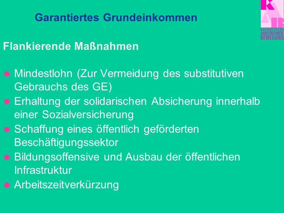 Flankierende Maßnahmen Mindestlohn (Zur Vermeidung des substitutiven Gebrauchs des GE) Erhaltung der solidarischen Absicherung innerhalb einer Sozialv