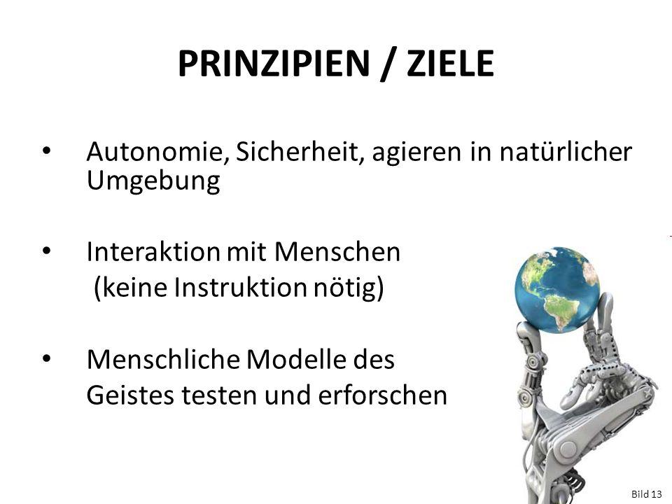 PRINZIPIEN / ZIELE Autonomie, Sicherheit, agieren in natürlicher Umgebung Interaktion mit Menschen (keine Instruktion nötig) Menschliche Modelle des G