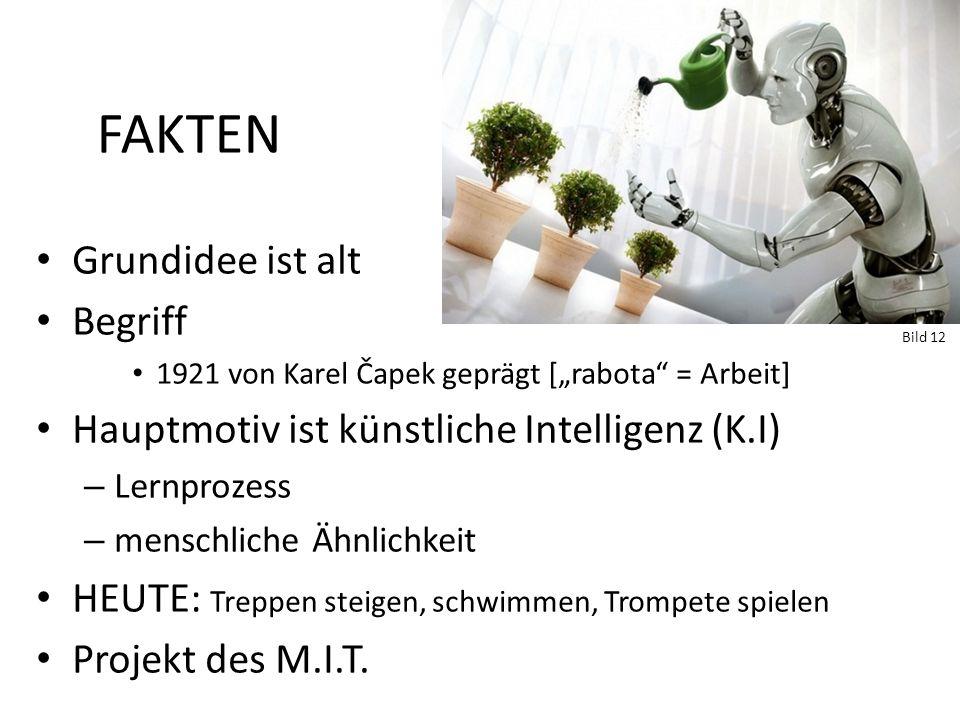 FAKTEN Grundidee ist alt Begriff 1921 von Karel Čapek geprägt [rabota = Arbeit] Hauptmotiv ist künstliche Intelligenz (K.I) – Lernprozess – menschlich