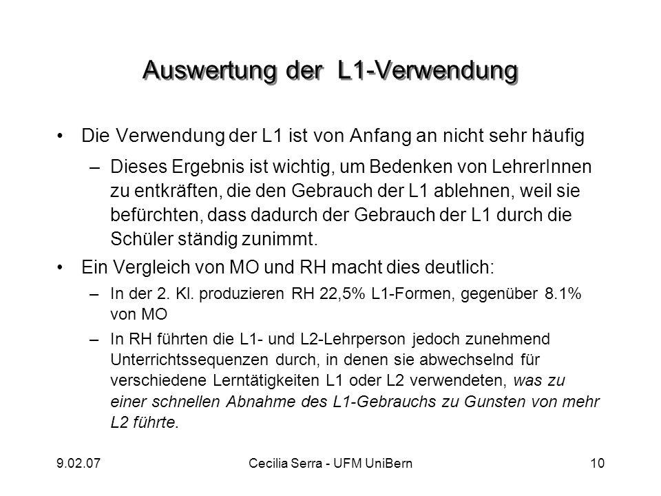 9.02.07Cecilia Serra - UFM UniBern10 Auswertung der L1-Verwendung Die Verwendung der L1 ist von Anfang an nicht sehr häufig –Dieses Ergebnis ist wicht
