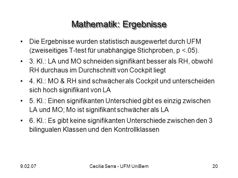 9.02.07Cecilia Serra - UFM UniBern20 Mathematik: Ergebnisse Die Ergebnisse wurden statistisch ausgewertet durch UFM (zweiseitiges T-test für unabhängi