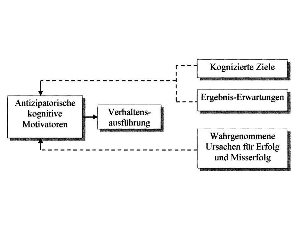 Erwartung und Motivation Zukünftige Zustände können Ursachen für aktuelles Verhalten sein durch Antizipation Kognitive Motivation: Menschen motivieren