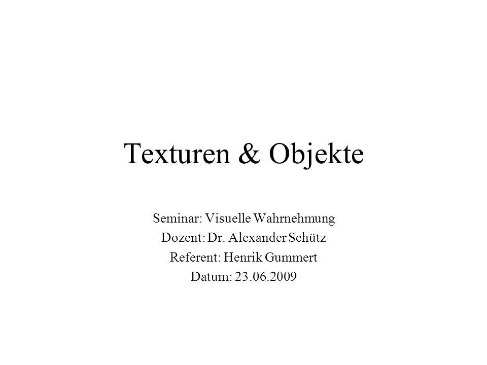 Texturen & Objekte Seminar: Visuelle Wahrnehmung Dozent: Dr. Alexander Schütz Referent: Henrik Gummert Datum: 23.06.2009