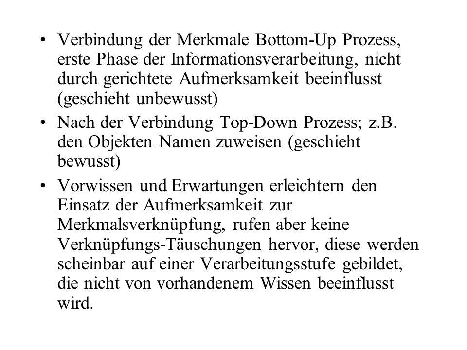 Verbindung der Merkmale Bottom-Up Prozess, erste Phase der Informationsverarbeitung, nicht durch gerichtete Aufmerksamkeit beeinflusst (geschieht unbe