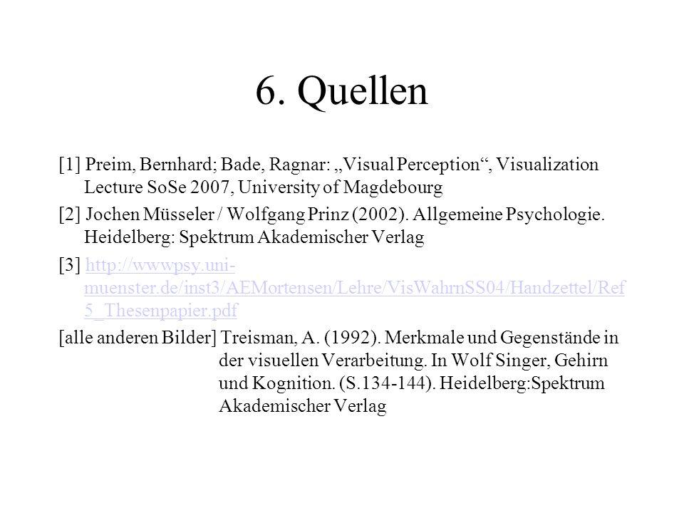 6. Quellen [1] Preim, Bernhard; Bade, Ragnar: Visual Perception, Visualization Lecture SoSe 2007, University of Magdebourg [2] Jochen Müsseler / Wolfg