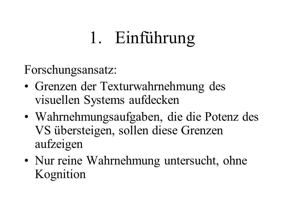 1.Einführung Forschungsansatz: Grenzen der Texturwahrnehmung des visuellen Systems aufdecken Wahrnehmungsaufgaben, die die Potenz des VS übersteigen,