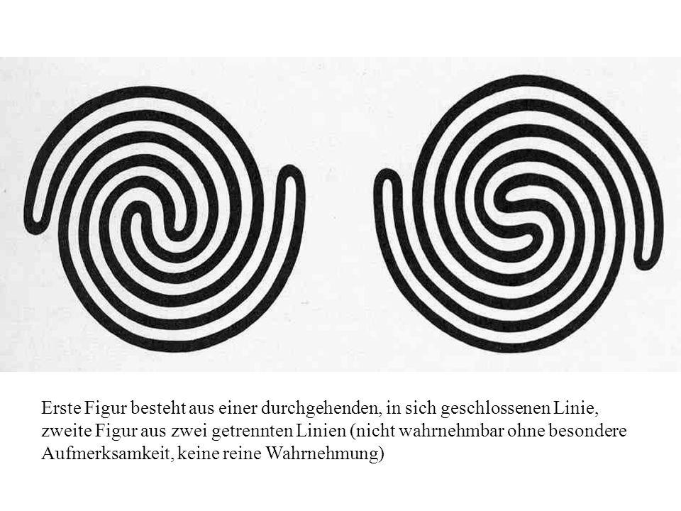 Erste Figur besteht aus einer durchgehenden, in sich geschlossenen Linie, zweite Figur aus zwei getrennten Linien (nicht wahrnehmbar ohne besondere Au