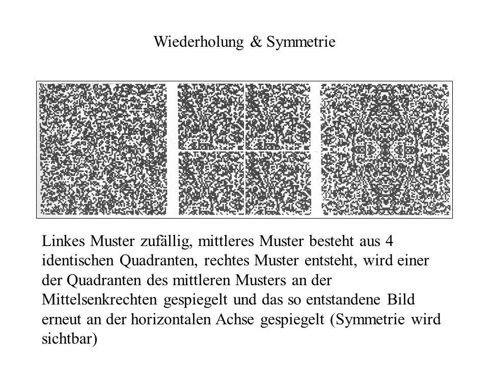 Wiederholung & Symmetrie Linkes Muster zufällig, mittleres Muster besteht aus 4 identischen Quadranten, rechtes Muster entsteht, wird einer der Quadra