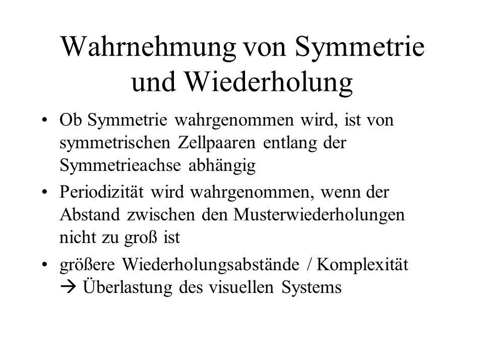 Wahrnehmung von Symmetrie und Wiederholung Ob Symmetrie wahrgenommen wird, ist von symmetrischen Zellpaaren entlang der Symmetrieachse abhängig Period