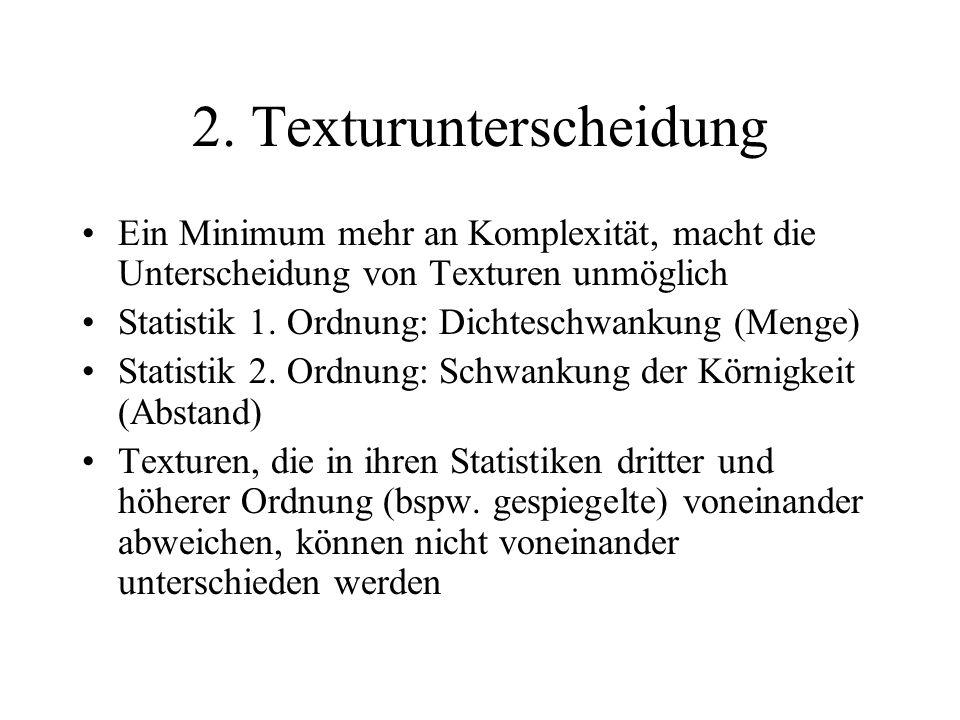 2. Texturunterscheidung Ein Minimum mehr an Komplexität, macht die Unterscheidung von Texturen unmöglich Statistik 1. Ordnung: Dichteschwankung (Menge