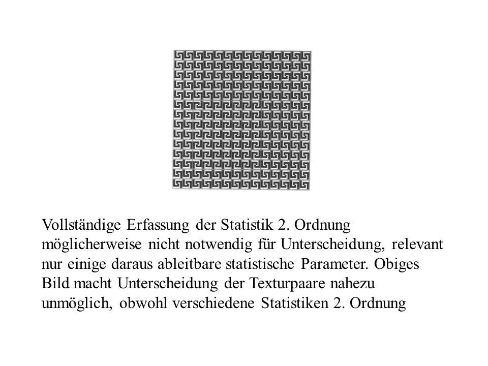 Vollständige Erfassung der Statistik 2. Ordnung möglicherweise nicht notwendig für Unterscheidung, relevant nur einige daraus ableitbare statistische