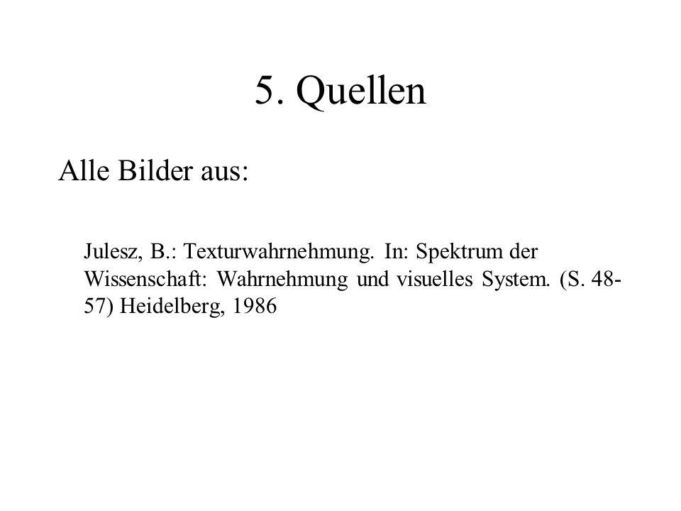 5. Quellen Alle Bilder aus: Julesz, B.: Texturwahrnehmung. In: Spektrum der Wissenschaft: Wahrnehmung und visuelles System. (S. 48- 57) Heidelberg, 19