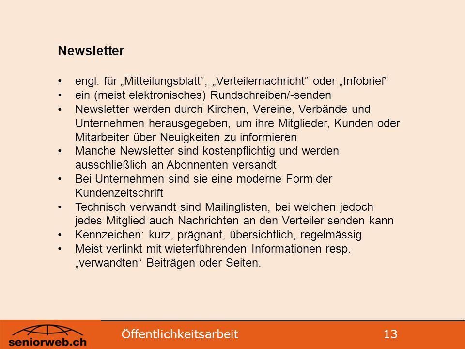 Ö ffentlichkeitsarbeit 13 Newsletter engl.
