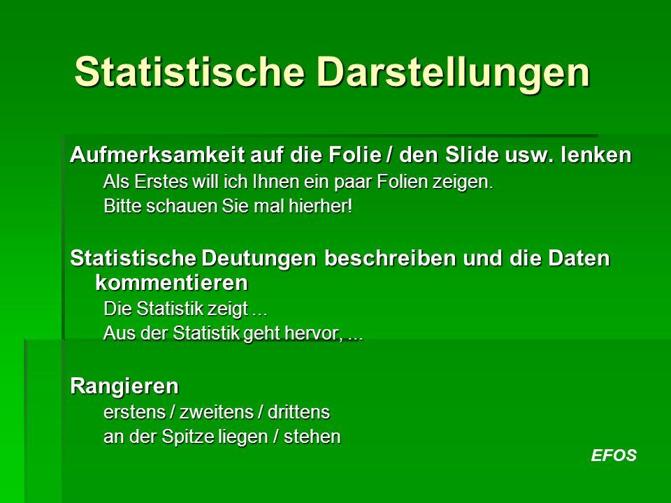 EFOS Statistische Darstellungen Aufmerksamkeit auf die Folie / den Slide usw. lenken Als Erstes will ich Ihnen ein paar Folien zeigen. Bitte schauen S