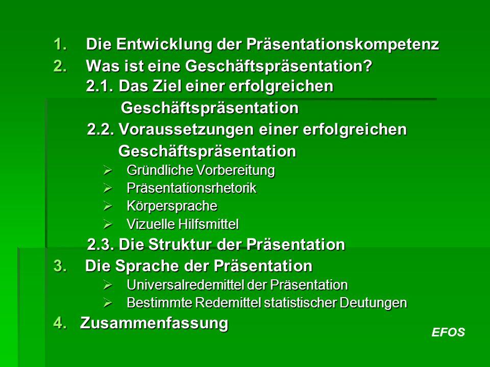 EFOS 1.Die Entwicklung der Präsentationskompetenz 2.Was ist eine Geschäftspräsentation? 2.1. Das Ziel einer erfolgreichen Geschäftspräsentation Geschä