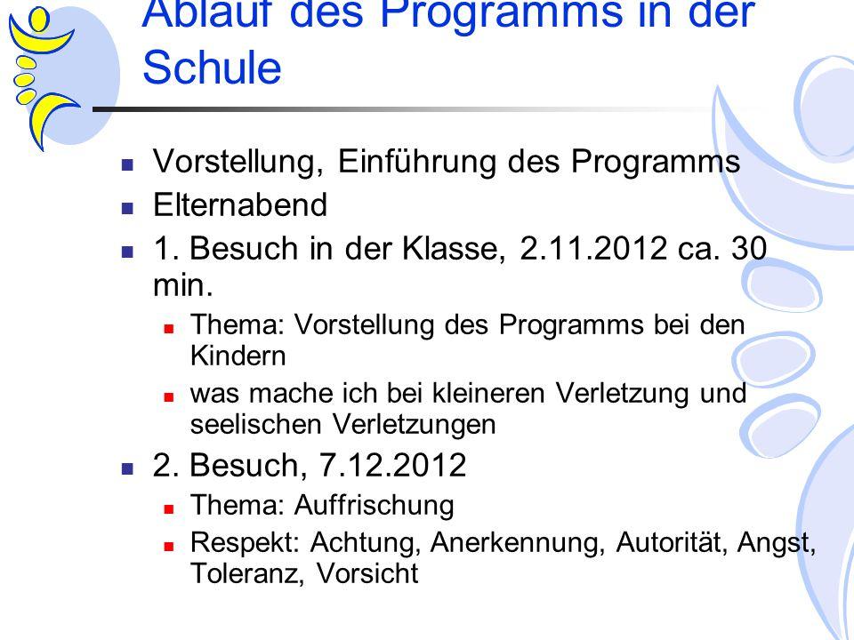 Ablauf des Programms in der Schule Vorstellung, Einführung des Programms Elternabend 1. Besuch in der Klasse, 2.11.2012 ca. 30 min. Thema: Vorstellung