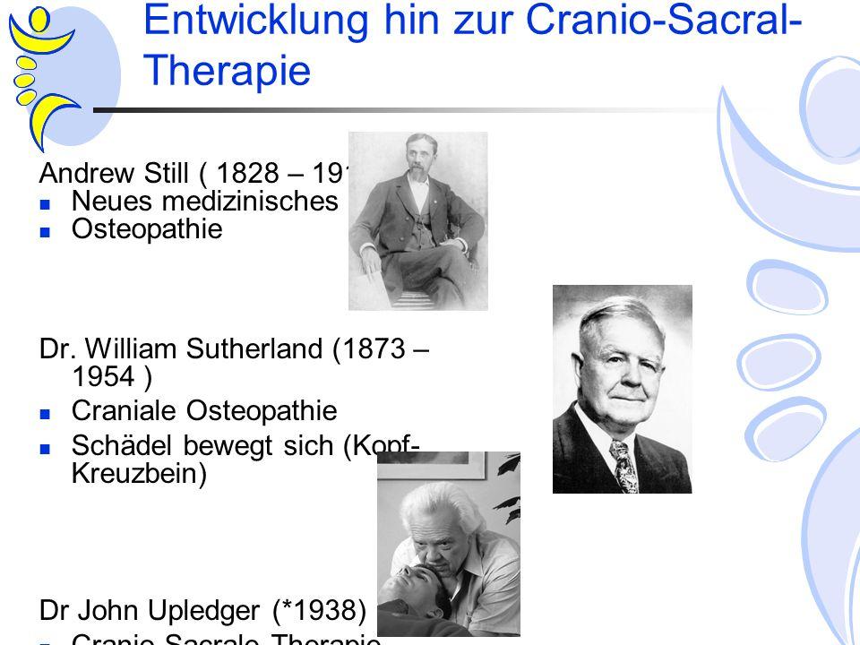 Entwicklung hin zur Cranio-Sacral- Therapie Andrew Still ( 1828 – 1914 ) Neues medizinisches Konzept Osteopathie Dr. William Sutherland (1873 – 1954 )