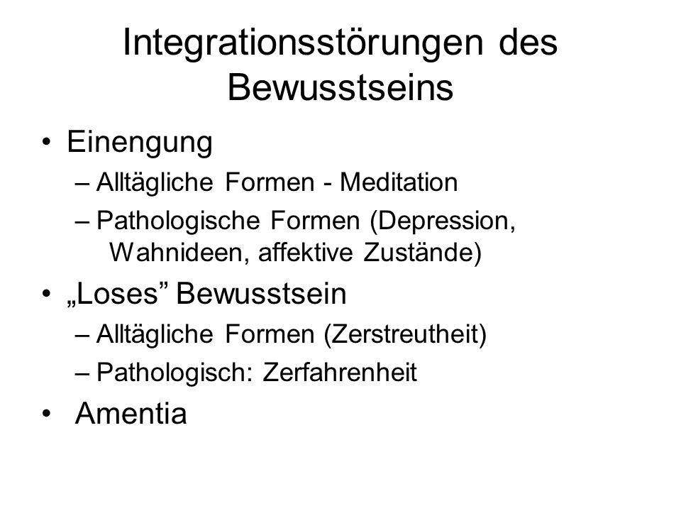 Integrationsstörungen des Bewusstseins Einengung –Alltägliche Formen - Meditation –Pathologische Formen (Depression, Wahnideen, affektive Zustände) Lo