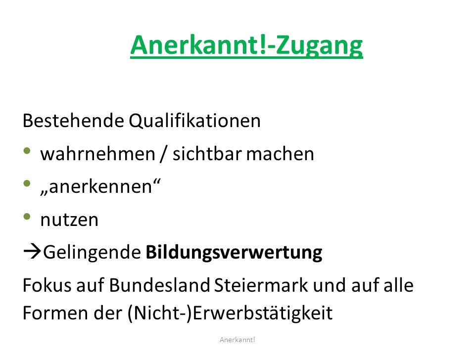 Anerkannt!-Zugang Bestehende Qualifikationen wahrnehmen / sichtbar machen anerkennen nutzen Gelingende Bildungsverwertung Fokus auf Bundesland Steiermark und auf alle Formen der (Nicht-)Erwerbstätigkeit Anerkannt!